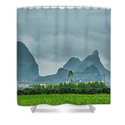 Karst Mountains Rural Scenery Shower Curtain