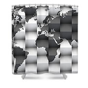 3d Black And White World Map Composition Shower Curtain