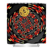3d Concentric Planet  Shower Curtain