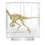 3d Rendering Of A Velociraptor Dinosaur Shower Curtain by Leonello Calvetti