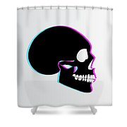 3d Skull Icon Background Side On Shower Curtain
