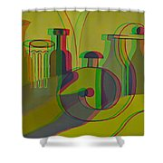 3d Stereo Cubism - Use Red-cyan 3d Glasses Shower Curtain