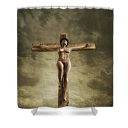3d Sky Crucifix Shower Curtain