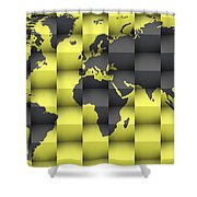 3d World Map Composition 4 Shower Curtain