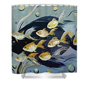 8 Gold Fish Shower Curtain