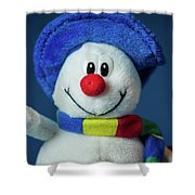 A Cute Little Soft Snowman With A Blue Hat And A Colorful Scarf Shower Curtain