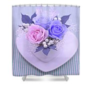 A Gift Of Preservrd Flower And Clay Flower Arrangement, Blue And Shower Curtain