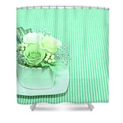 A Gift Of Preservrd Flower And Clay Flower Arrangement, White An Shower Curtain