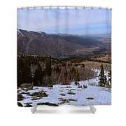 A Snowy Desert Mountain Scene Above Twin Lakes Along The Trail To Monument Ridge In The Eastern Sier Shower Curtain