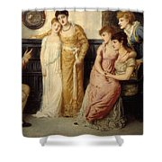 A Youth Relating Tales To Ladies Shower Curtain
