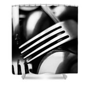 Abstract Black And White Forks Shower Curtain