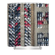 Aerial View Lot Of Vehicles On Parking For New Car. Shower Curtain