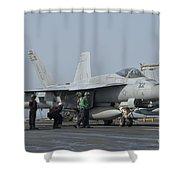 An Fa-18f Super Hornet On The Flight Shower Curtain