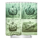 4 Angry Robots Shower Curtain