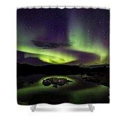 Aurora Borealis Over Iceland Shower Curtain