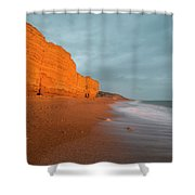 Beautiful Vibrant Sunset Landscape Image Of Burton Bradstock Gol Shower Curtain