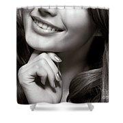 Beautiful Young Smiling Woman Shower Curtain