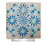 4 Blue Flowers Mandala Shower Curtain by Andrea Thompson