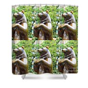 Bronze Statue Sculpture Of Bear Clapping Fineart Photography From Newyork Museum Usa Fineartamerica Shower Curtain