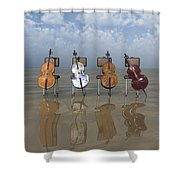4 Cellos... - 4 Violoncelles... Shower Curtain