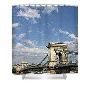 Chain Bridge On Danube River Budapest Shower Curtain
