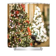 Christmas Tree And Decorations With Shallow Depth Of Field Shower Curtain
