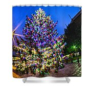 Christmas Tree Near Panther Stadium In Charlotte North Carolina Shower Curtain