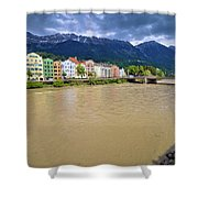 City Of Innsbruck Colorful Inn River Waterfront Panorama Shower Curtain