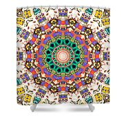 Colorful Concentric Abstract Shower Curtain