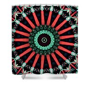Colorful Kaleidoscope Incorporating Aspects Of Asian Architectur Shower Curtain