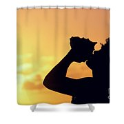 Conch Shell Blower Shower Curtain