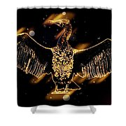 Cormorant Dries Its Wings Shower Curtain