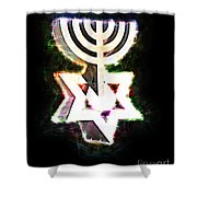 David's Menorah Jerusalem Shower Curtain