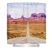 descending into Monument Valley at Utah  Arizona border  Shower Curtain
