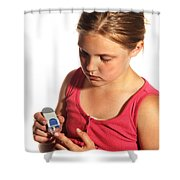 Diabetic Child With Blood Glucose Tester Shower Curtain