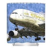 Etihad Airlines Airbus A380 Art Shower Curtain