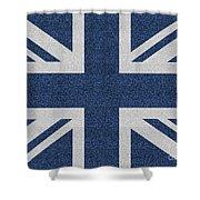 Great Britain Denim Flag Shower Curtain