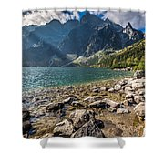 Green Water Mountain Lake Morskie Oko, Tatra Mountains, Poland Shower Curtain