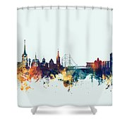 Halmstad Sweden Skyline Shower Curtain