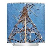 High Voltage Pylon Shower Curtain
