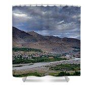 Indus River And Kargil City Leh Ladakh Jammu Kashmir India Shower Curtain