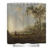 Landscape With Herdsmen And Cattle Shower Curtain