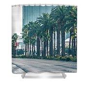 Las Vegas Nevada City Skyline And Vegas Strip At Night Shower Curtain