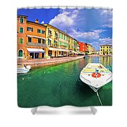 Lazise Colorful Harbor And Boats Panoramic View Shower Curtain