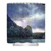 Lijiang River Boat Tour In The Rain-arttopan-china Guilin Scenery Shower Curtain