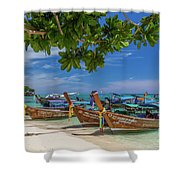 Long-tail Boats, The Andaman Sea And Hills In Ko Phi Phi Don, Th Shower Curtain