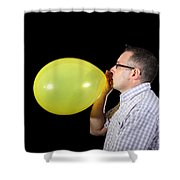 Man Inflating Balloon Shower Curtain