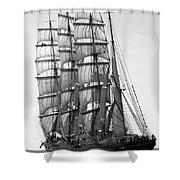 4-masted Schooner Shower Curtain