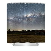 Milky Way Over A Farm Shed Shower Curtain