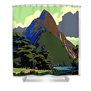 New Zealand Vintage Travel Poster Restored Shower Curtain